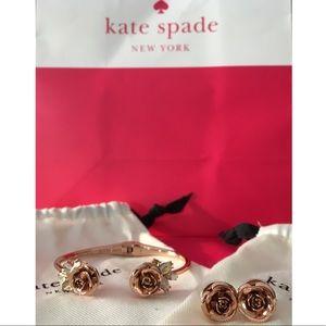 Kate Spade Garden Garland Hinged Cuff w/ earrings